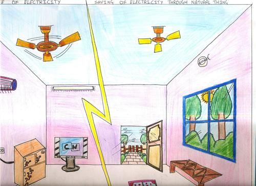 Save Electricity Drawing On Save Electricity